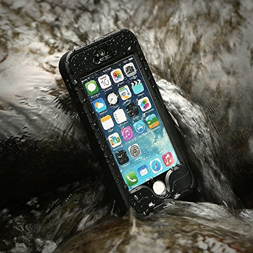 (iPhone 5S Waterproof Case,Mangix Waterproof with Touched Transparent Screen Protector Heavy Duty Protective Carrying Cover Case includes a 3.5mm AUX Cable for Apple iPhone 5/5s-Black)
