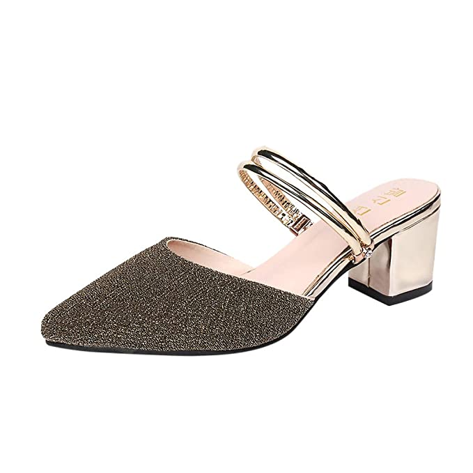2503ea88438 Amazon.com  Women s Sequins Pointed Slides Sandals Chunky Heeled Slippers  Shoes Casual Closed Toe Dress Sandals 4.5-8.5  Clothing