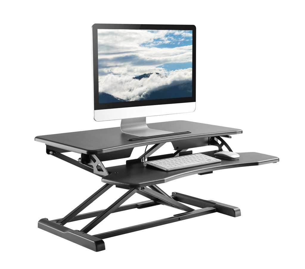 Rise-X Light Standing Desk Converter - Height Adjustable Stand Up Desk Riser - Sit to Stand Desktop Workstation - 32 Surface Black
