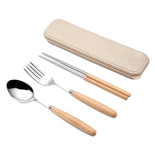 utiliza el sistema del Homeware BESTONZON El sistema de los cubiertos del servicio de mesa del acero inoxidable 3PCS incluye la caja de los palillos de la cuchara de la bifurcaci/ón
