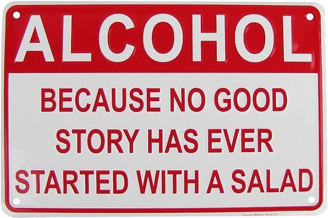 Alcohol Salad Funny Embossed Aluminum Sign Novelty US Made Bar Pub Wall Decor