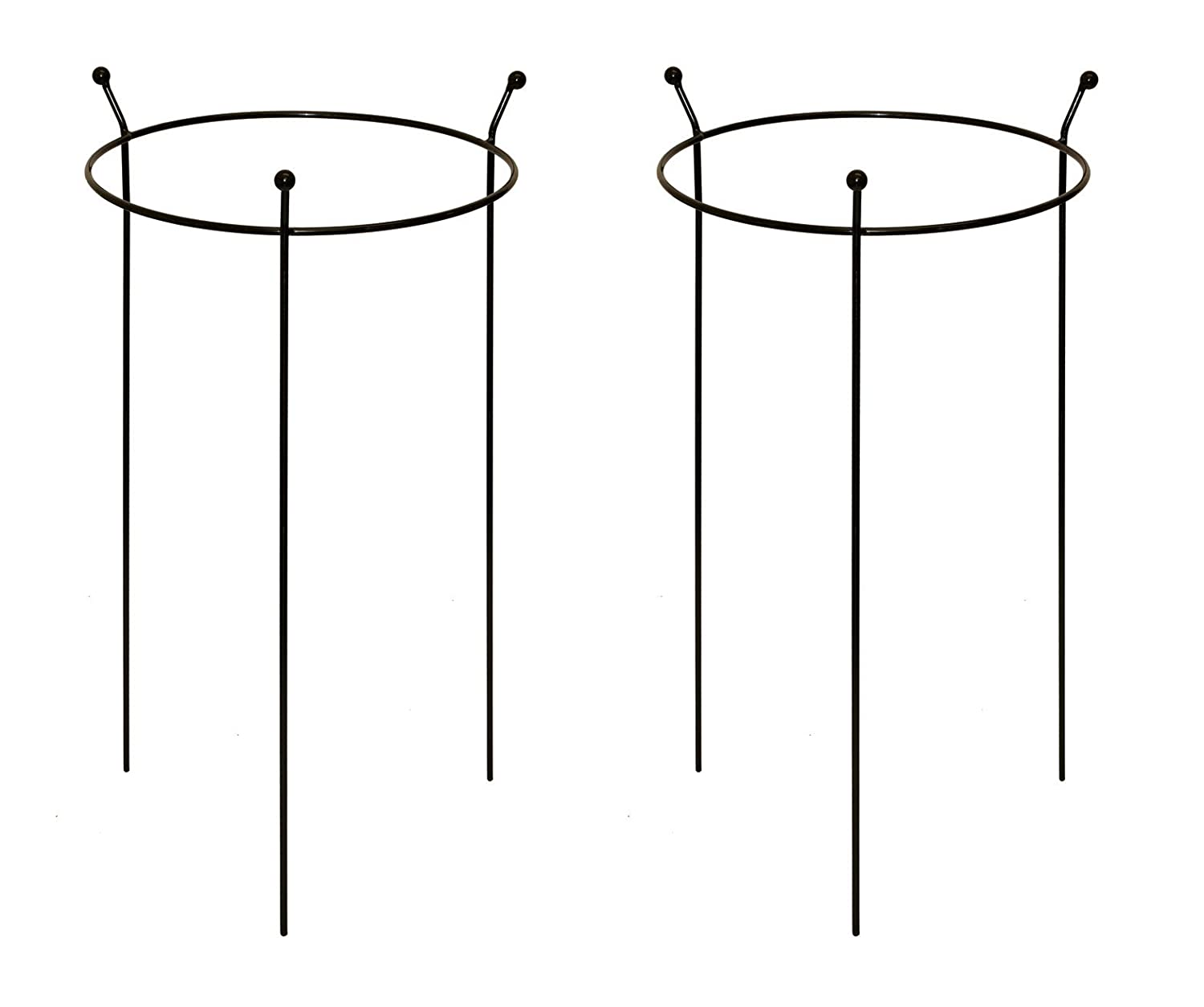 Pack of 2 x Heavy Duty Large Black Metal Plant Supports Rings (45cm diameter x 70cm high) by Ruddings Wood - Garden Outdoor Flower Border Grow Through Cage