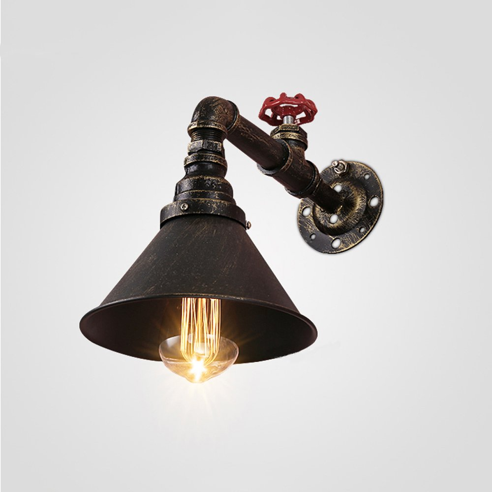 Water pipe wall lamp Retro wall lamp Industrial wall lamp E26 bulb Iron wall lamp Nordic style Bedroom Attic Bar balcony Basement Garage Height 12.6 Inch 31W-40W (Brass color)