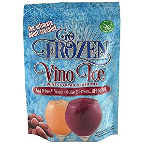 Go Frozen Vino Ice- Organic- Wine Cooler/Freezer & Cocktail Slushie Mix Pouches (Pack of 2)- Make Adult Sorbets, Margaritas, Cosmos, Mimosa, Peach Bellini And Sangria •Cocktail Recipes•Included