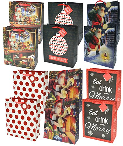 (Christmas Gift Bags with Glitter, Large (12 Pack))