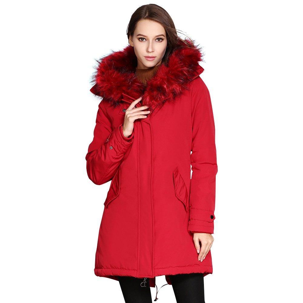 Red COUTUDI Women's Winter Faux Fur Hooded Plus Size Parka Jacket Coat