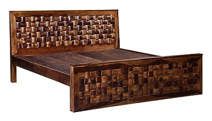 Inhouz Niwar King Size Cot Teak Finish Brown Amazon In Home
