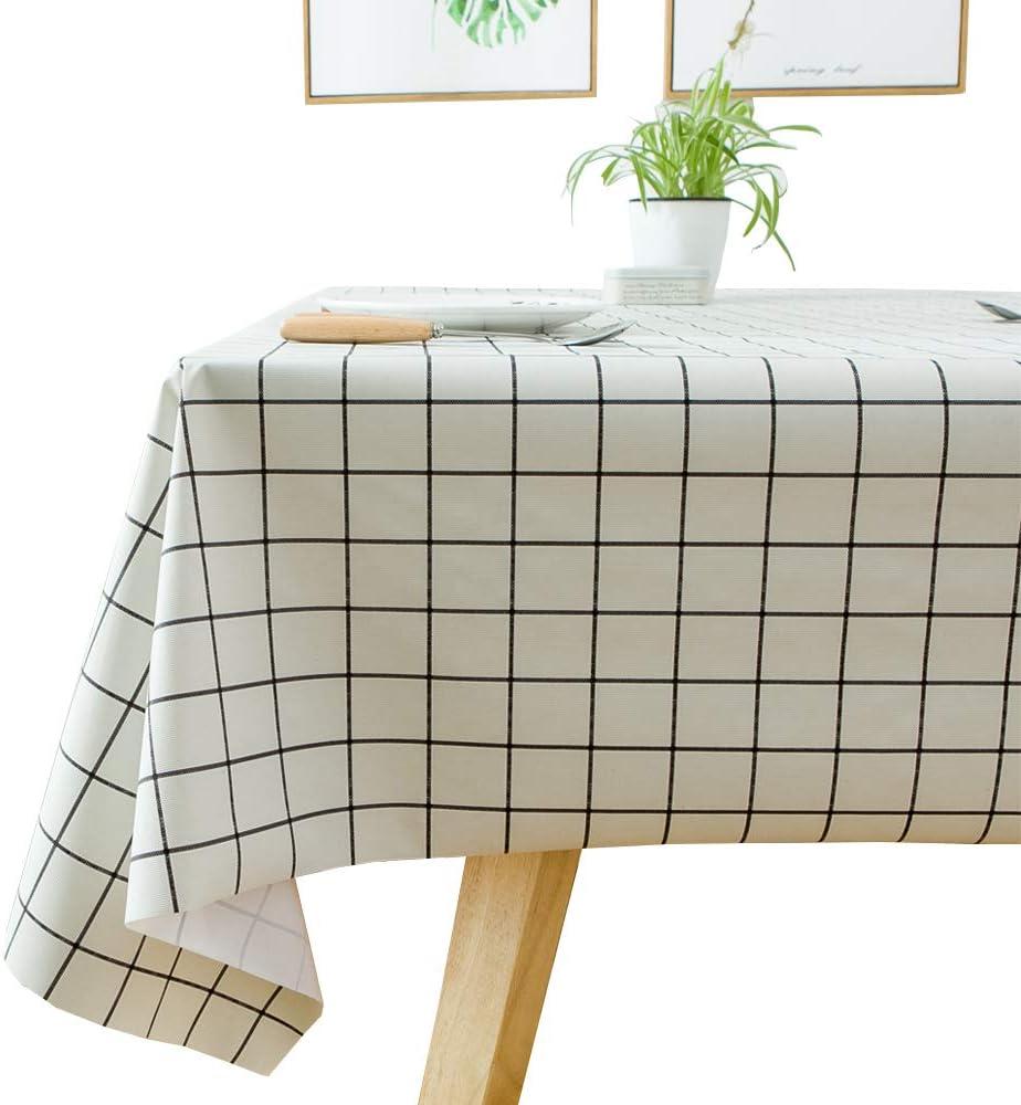 Plenmor Mantel de vinilo pesado para mesa rectangular de PVC fácil de limpiar, resistente al aceite, resistente a las manchas y al moho., vinilo pvc, Cuadros blancos, 137x137 cm