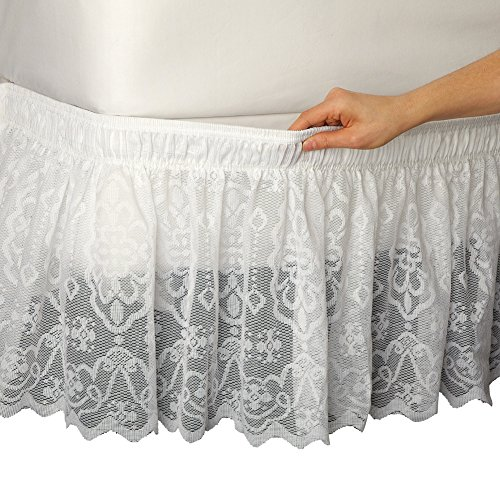 Eyelet White Dust Ruffle - Collections Etc Lace Trimmed Elastic Bed Wrap, Easy Fit Dust Ruffle Bedskirt, White, Queen/King