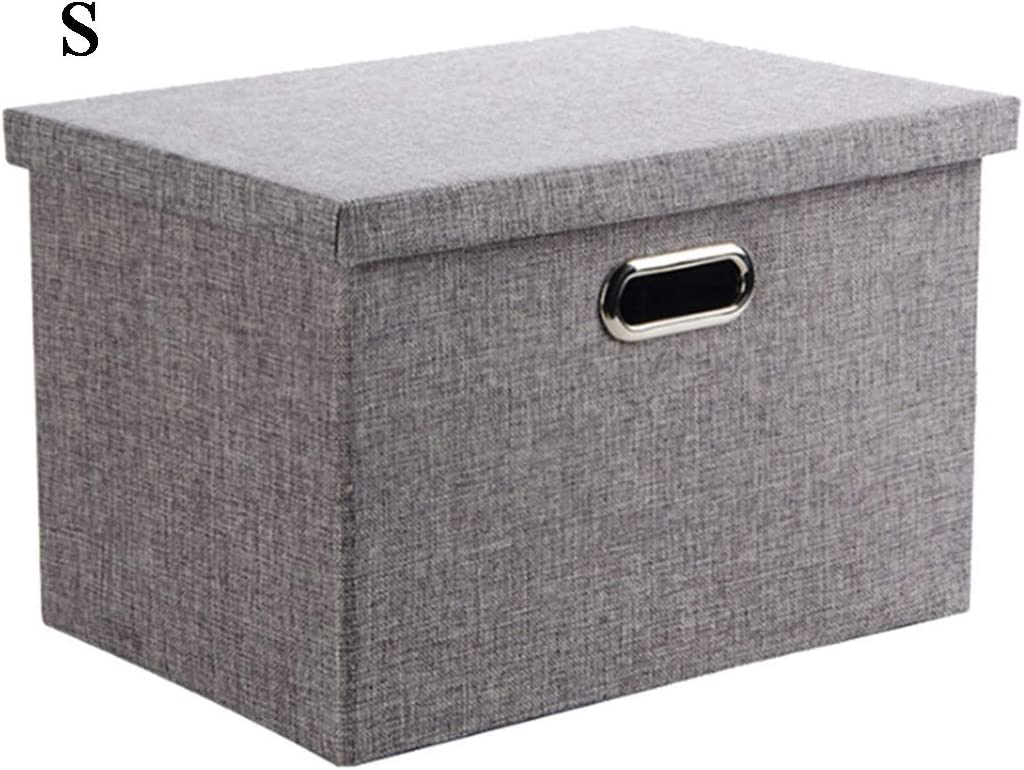 Wintao Storage Box with lid Foldable Linen Fabric Clothing Storage Basket Bins with Lids Gray 3 Sizes - Small
