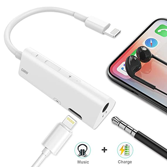 pretty nice 92ee0 d3d1f Lightning Jack Headphone Adapter for iPhone Dongle Earphone Audio Adaptor  for iPhone X / 8/7 / Plus 2 in 1 Lighting to 3.5 mm Aux Converter & Charger  ...