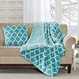 Madison Park Ogee Luxury Oversized Down Alternative Throw Aqua 60x70 Geometric Premium Soft Cozy Mircolight Plush for Bed, Couch or Sofa