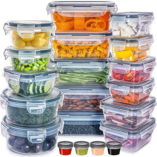 Food Storage Containers with Lids - Plastic Food Containers with Lids - Plastic Containers with Lids Storage (20 Pack) - Plastic Storage Containers with Lids Food Container Set BPA-Free Containers