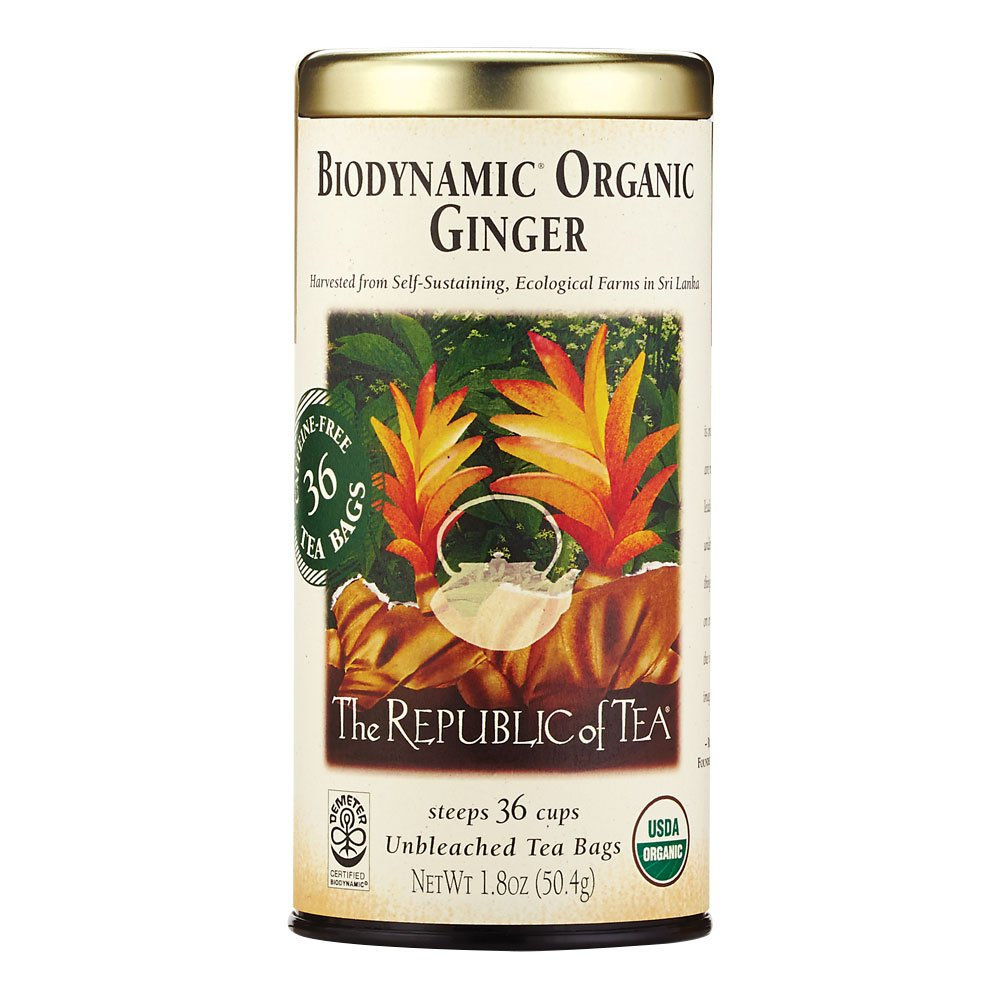 The Republic of Tea Biodynamic Ginger Herbal Tea, 36 Tea Bag Tin
