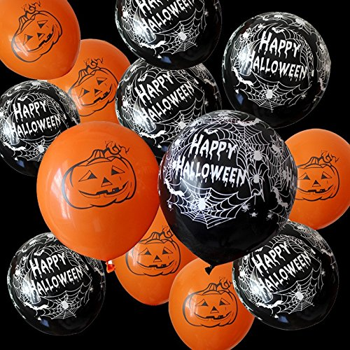 [USA-SALES] Happy Halloween Day Party Balloons Qty. 20, Premium Quality, Assorted Colors, by Usa-Sales -