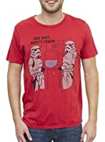 Junk Food Star Wars Storm Troopers Look Busy Vader's Coming Adult Rooster Red T-shirt
