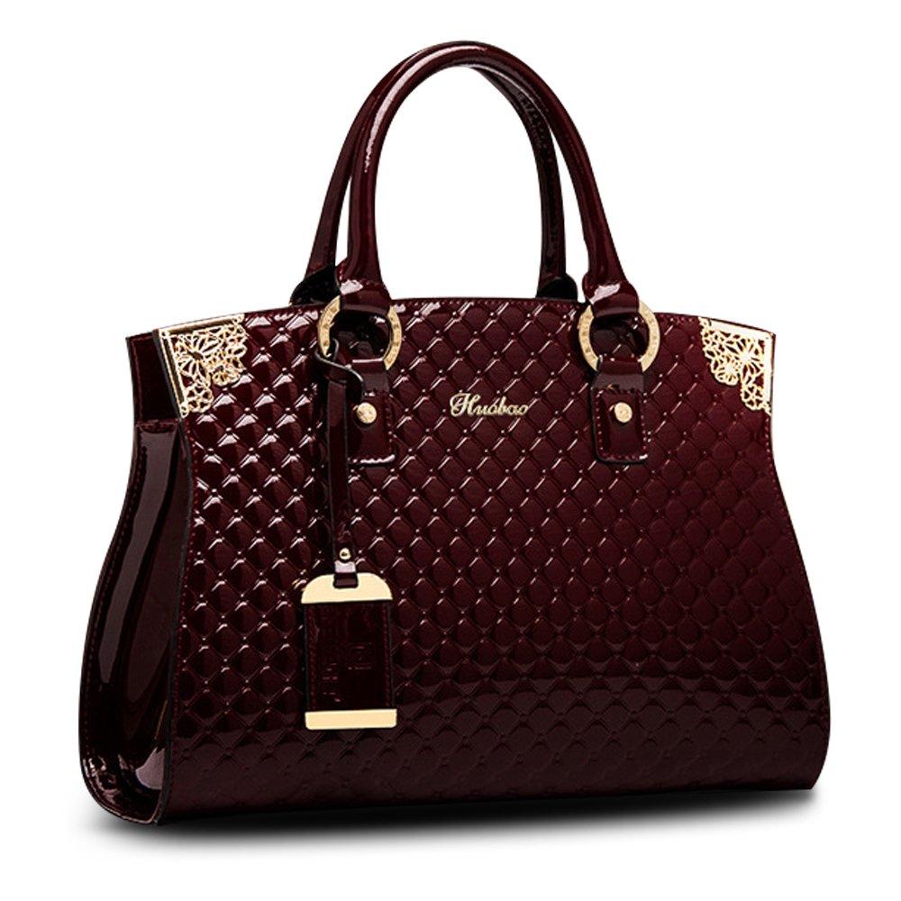 HUOBAO Women's Patent Leather Handbags Designer Totes Purse Satchels Shoulder Handbag Fashion Embossed Top Handle Bags (Wine Red)