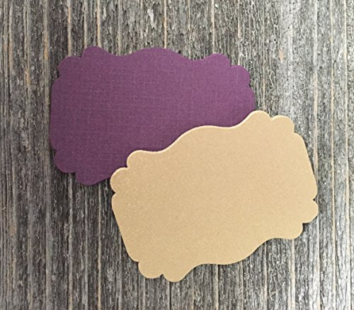 50 Blank Dark Plum Purple Gold Scalloped Edge Bracket Wedding Party Hang Tags Tag - Edge Scalloped Cardstock