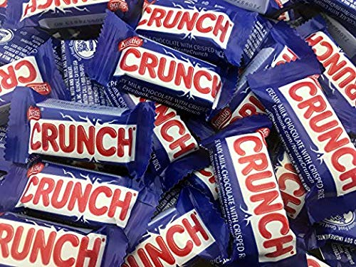 Nestle Crunch Milk Chocolate Fun Size Bar With Crisped Rice Easter Candy | Individually Wrapped Chocolate Treats - 2 lb Bulk - Nestle Crunch Crisp