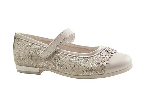 fbaefbcd5bc PRIMIGI 1440733 Zapatos Bailarinas niña Ceremonia de Cuero Blanco   Amazon.es  Zapatos y complementos