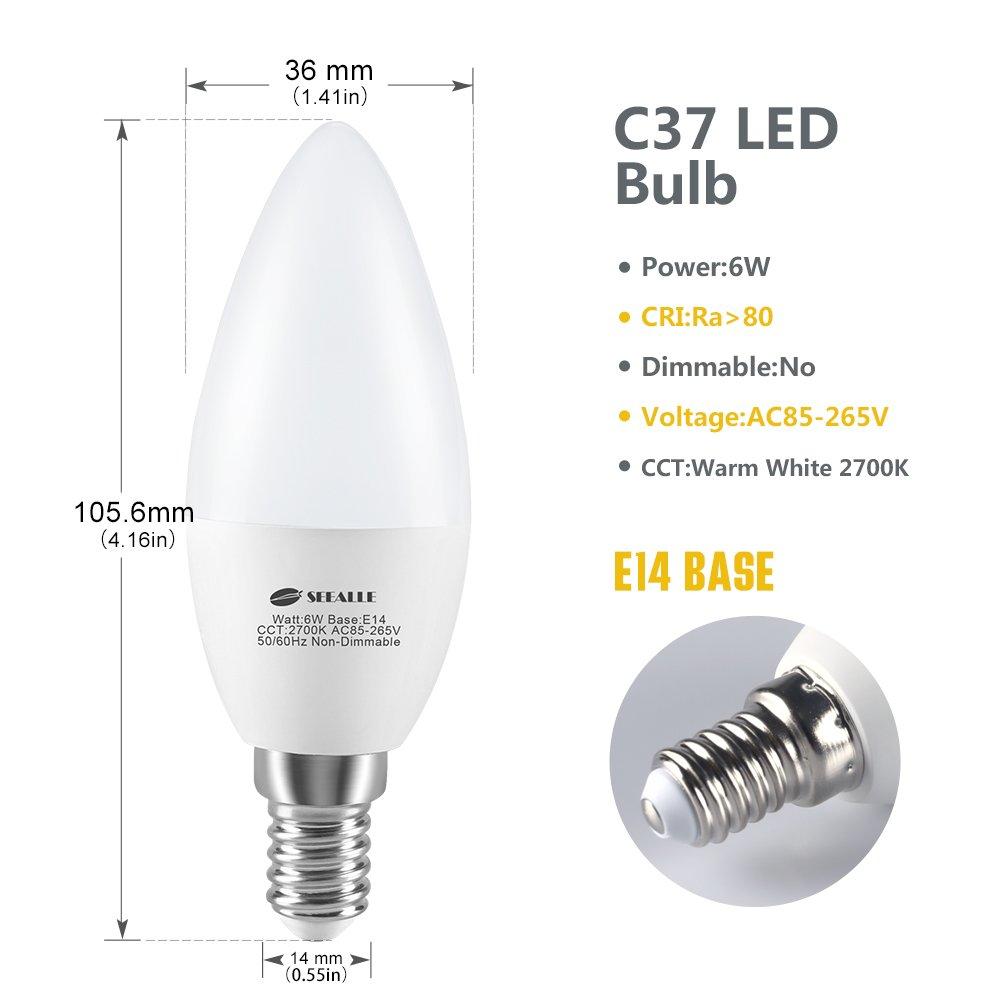 Blanc Chaud 2700k Seealle Ampoule e14 Bougie /Équivalent /à Ampoule Incandescente 60W Classe /énerg/étique A+ Ampoule LED E14 C37 6W Lot de 6 600lm Ampoule LED Culot E14