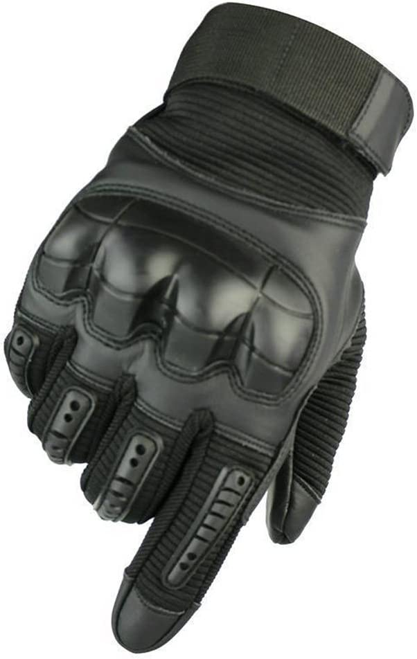 Military Hard Knuckle Tactical Gloves Full Finger , in color black, with hard knuckle rubber guards.