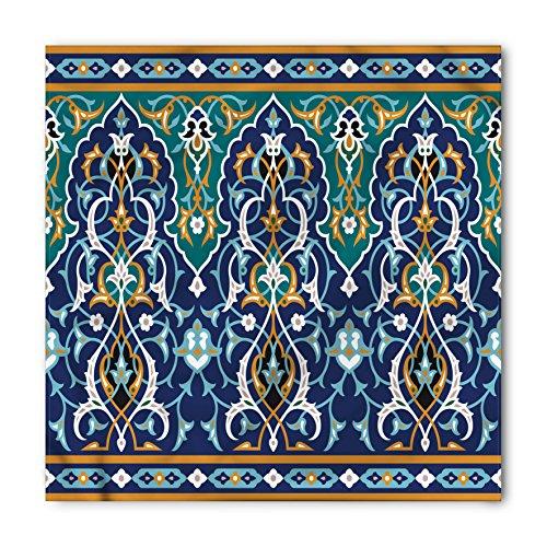 Ambesonne Unisex Bandana, Moroccan Hippie Tribal Figures, Blue Mustard ()