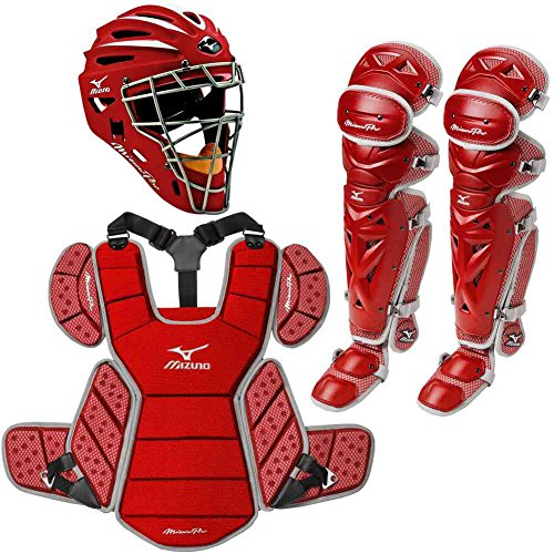 Mizuno Pro Adult Baseball Catchers Set Helmet Leg Guard Chest Protector Red by Mizuno