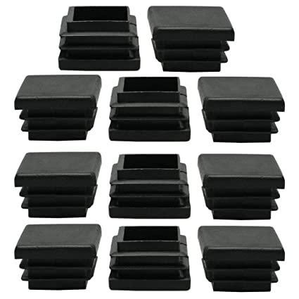 10 x 30mm Plastic Rectangle Ribbed Tube Inserts End Cover Cap Table Feet 25pcs