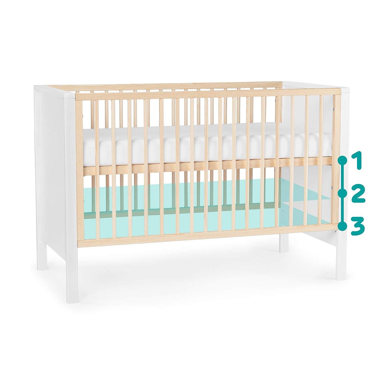 Bettumrandung mit Matratze von Geburt bis zu H/öhe 120 cm Babybett aus Holz Wei/ß Gitterbett 3 Stufen H/öhenverstellbar Kinderkraft Kinderbett MIA