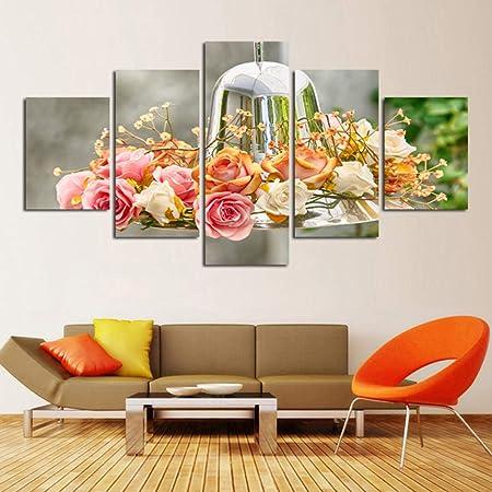 Speedcoming - Pintura de impresión HD modular para decoración doméstica, 5 paneles, flores, bonitos cascabeles, marco de pared, póster moderno para salón, 200 x 100 cm