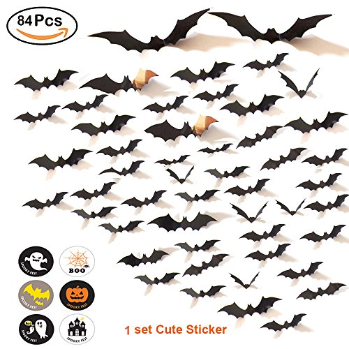 84PCS Halloween Decoration Bat 3D Wall Decal Wall Sticker + 1 Cute Halloween Sticker, Halloween Eve Party Supplies Decor Home Window Decoration Décor Set , 4 Sizes --- Arriving Before (Door Decoration For Halloween)