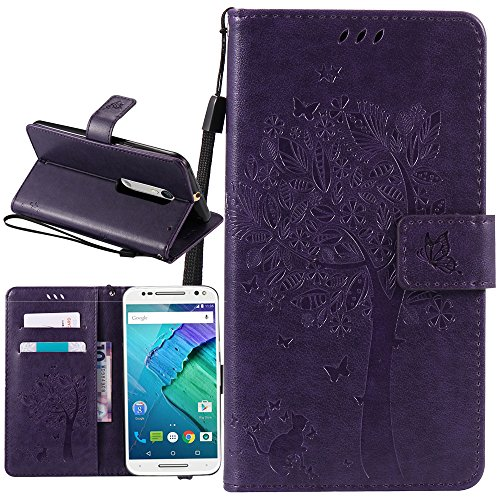 Moto X Pure Edition Case, Moto X Style Case, Harryshell(TM) Wallet Folio Leather Flip Case Cover with Card Id Slot Stand Wrist Strap for Motorola Moto X Style /Pure Edition 2015