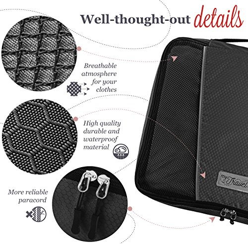 MyTravelUp, 7in1 - TRAVEL PACKING CUBES for everyone who loves travelling, HIGH QUALITY durable material, 2 BAGS for LAUNDRY/SHOES. This travel set will be a SMART ORGANIZER for clothes (Black) by MyTravelUp (Image #2)