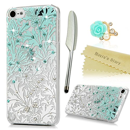 iPod Touch 5 Case,Touch 5th Generation Case - Mavis's Diary 3D Handmade Bling Crystal Shiny Rhinestone Diaonds Special Hollow Floral Gradient Pattern Hard PC Clear Cover with Dust Plug & Stylus Pen