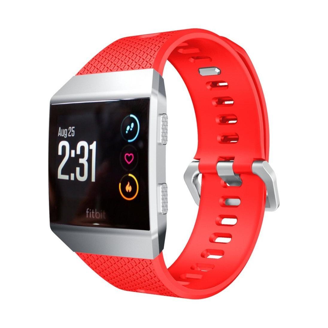 sukeq交換用ストラップfor Fitbit Ionic、ソフトシリコンスポーツリストバンドブレスレット時計バンドアクセサリーfor Fitbit Ionic Smart Fitness Watch、6.7インチ-8.1