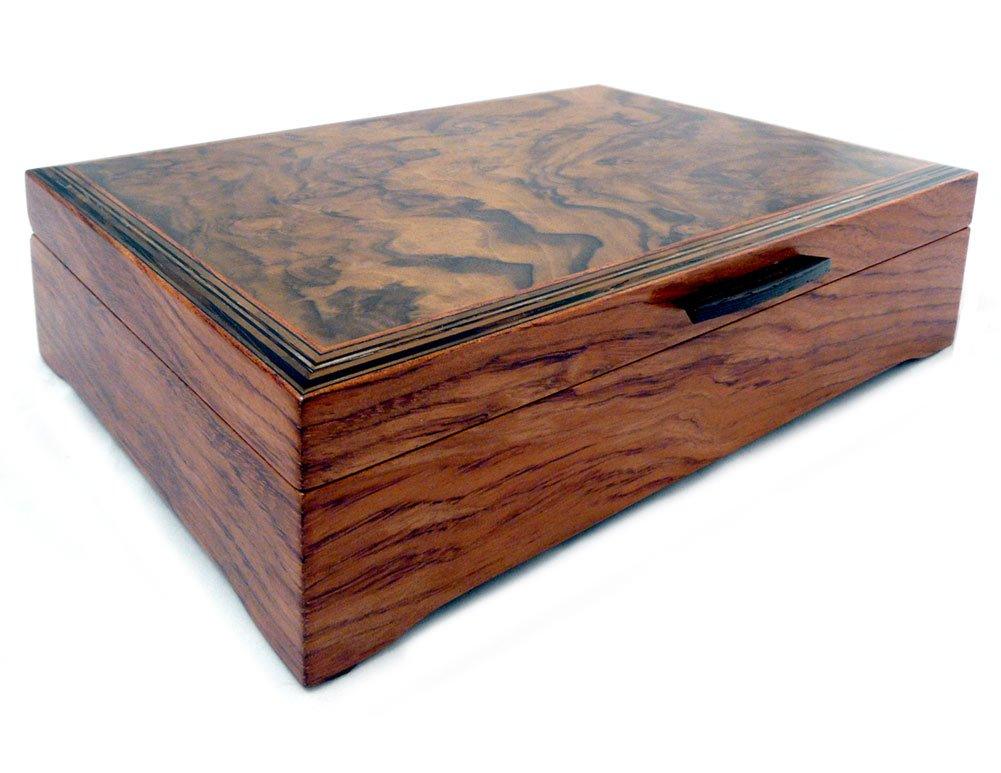 Burl Walnut and Sapele Handcrafted Hardwood Valet Box, 10.5'' x 7.25''