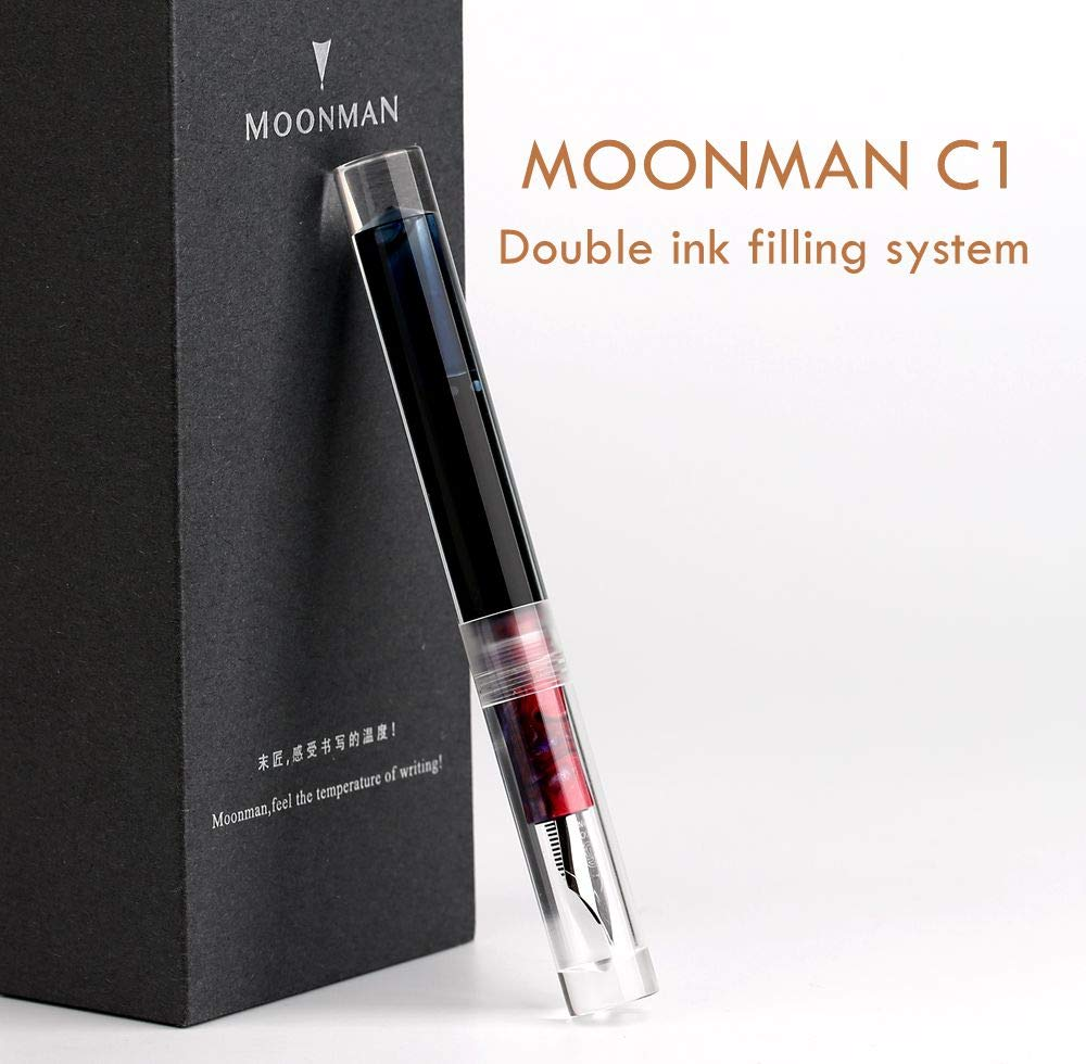 Moonman C1 Eyedropper Filling Fountain Pen Double Ink Filling System Original Box (Transparent, Fine Nib 0.6mm)