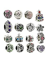 Newyuan 16pcs Lovely Crystal Flower Pendants Beads Charms Bracelet Necklace DIY Jewelry Mix Making Jewelry Findings