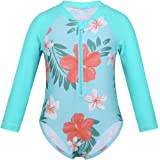 Choomomo Kids Girls Flower Pattern Printed Long Sleeves Swimsuit Zipper Front One Piece Summer Rash Guard