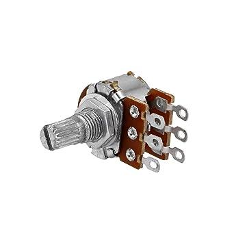 2 x potenciómetro logarítmico estéreo Axial 500 KΩ (A500 K), para alambre de