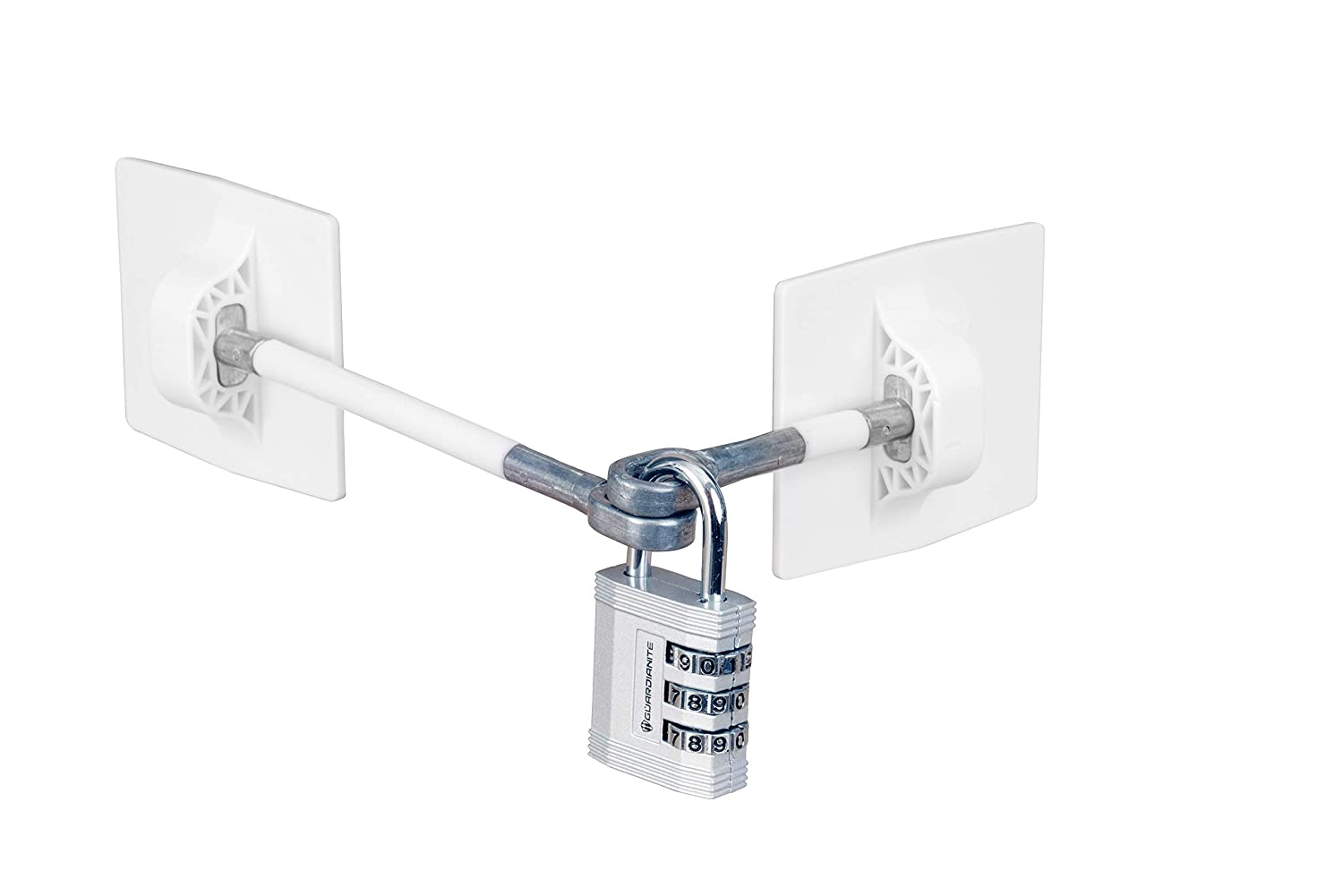 Refrigerator Door Lock with Combination Padlock - White