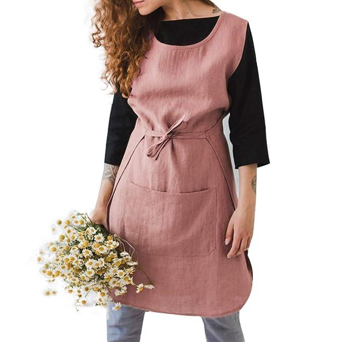 Amazon.com: Xinantime - Vestido sin mangas de algodón y lino ...