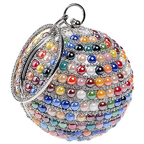 KELAND Women's Bling Round Shape Beaded Rhinestones Evening Bag Clutch Handbag Party Wedding Purse Multicolor