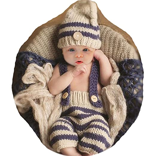 b39ab079c SUMIMARA Fashion Cute Newborn Boy Girl Baby Photography Props Costume  Outfits Hat Pants Light Grey