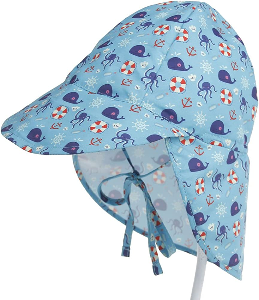 Octopus Baby Toddler Kids Sun Hat UV Protection Beach Swim Hats Neck Flap S