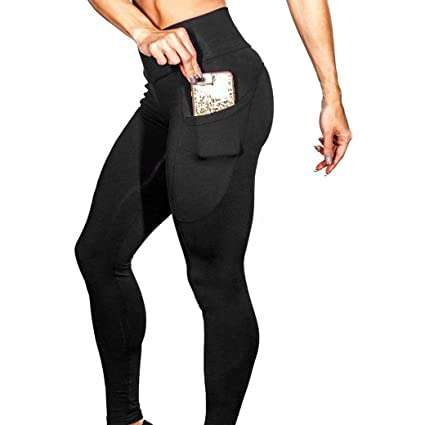 2cab7375f45 Elogoog Women s Yoga Solid Color Pants Sport Tights Workout Running Leggings  with Side Pocket (Black