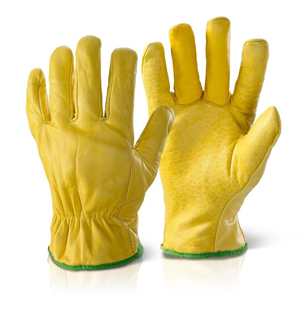 Qualität gefüttert Treiber Handschuhe gelb M