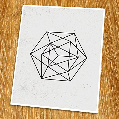 Modern Art Print (Unframed), Geometric Art, Abstract Art Poster, Mid-century Art, Cafe, Industrial, Loft, Wire Wall Art, Black and White, 8×10″, TD-116 61nTXJApSdL