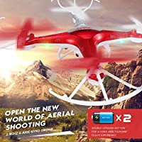 RC Quadcopter, Coerni 2.4GHz 4CH 6-Axis LED Drone With Camera (Red)
